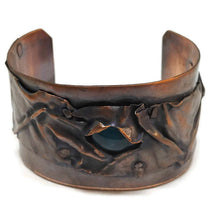 Antiqued Copper Aquamarine Fold Form Cuff Bracelet