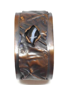 Antiqued Copper Botswana Agate Fold Form Cuff Bracelet