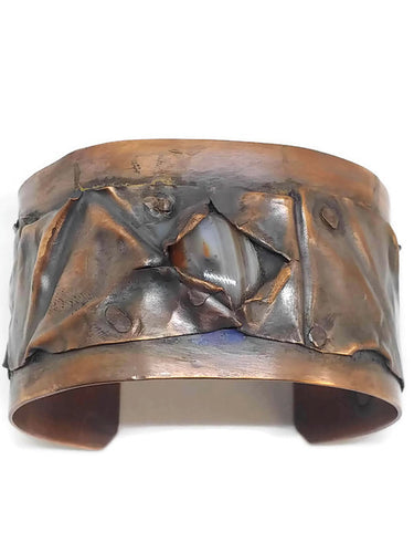 Antiqued Copper Lake Superior Agate Fold Form Cuff Bracelet