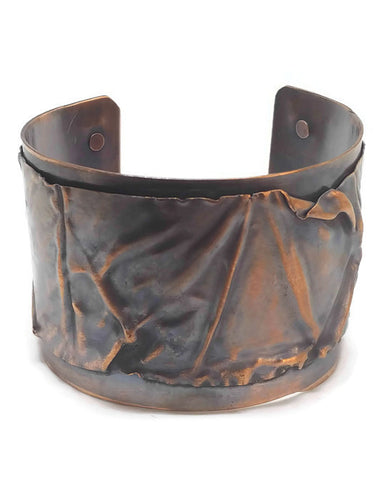 Antiqued Copper Fold Form Cuff Bracelet