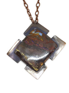 Antiqued Copper Australian Boulder Opal Necklace