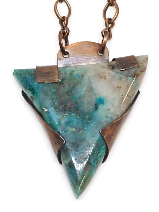 Antiqued Copper Quantum Quatro Quartz Necklace