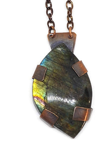 Antiqued Copper Labradorite Paisley Necklace