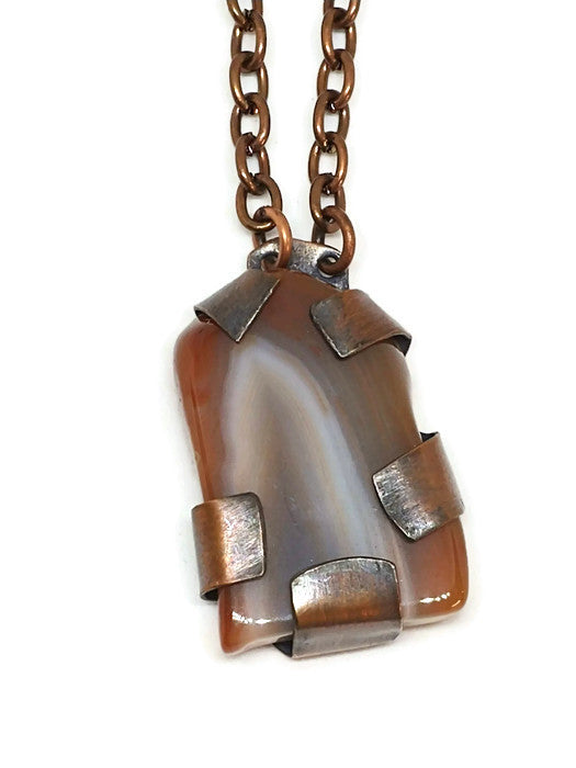 Antiqued Copper Lake Superior Agate Necklace