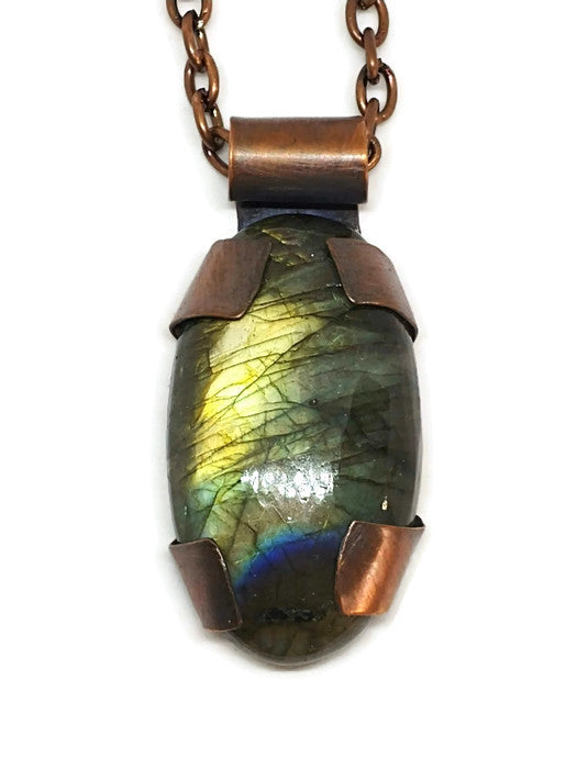Antiqued Copper Labradorite Oval Necklace