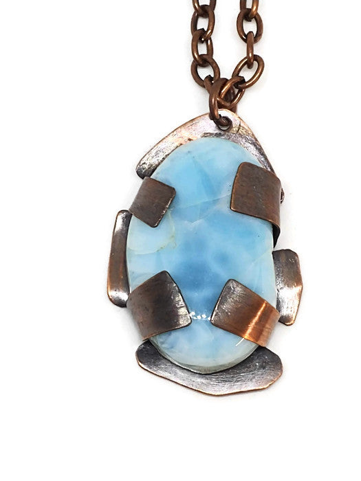 Antiqued Copper Larimar Necklace