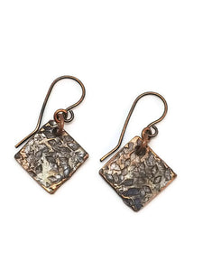 Antiqued Copper Hammered Earrings - Diamonds