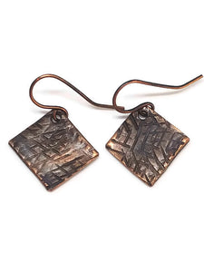 Antiqued Copper Hammered Earrings - Scrathces