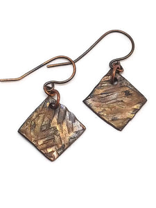 Antiqued Copper Hammered Earrings - Dashes