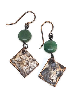 Antiqued Copper Hammered Earrings - Green Quartz