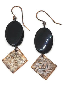 Antiqued Copper Hammered Earrings - Black Onyx