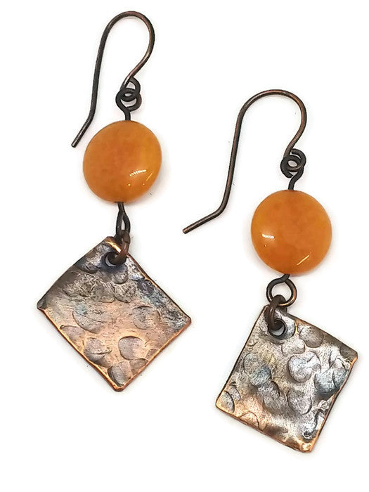 Antiqued Copper Hammered Earrings - Orange Quartz