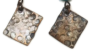 Antiqued Copper Hammered Earrings - Peen Dots
