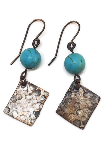 Antiqued Copper Hammered Earrings - Turquoise Howlite