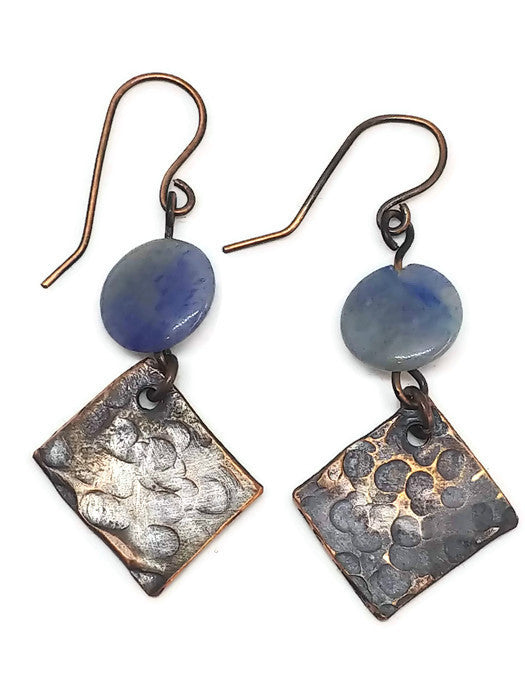 Antiqued Copper Hammered Earrings - Blue Quartz