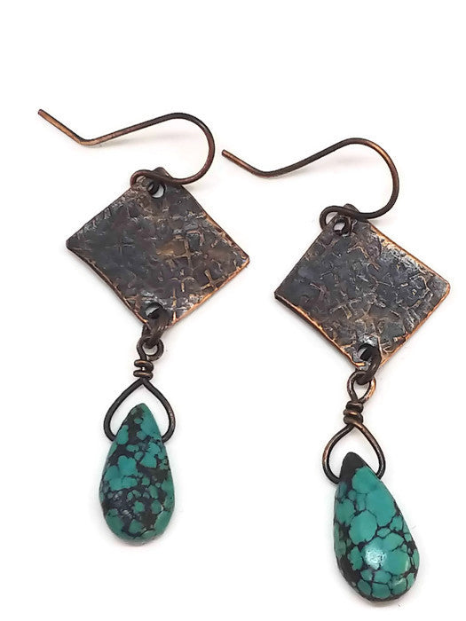 Antiqued Copper Hammered Earrings - Turquoise
