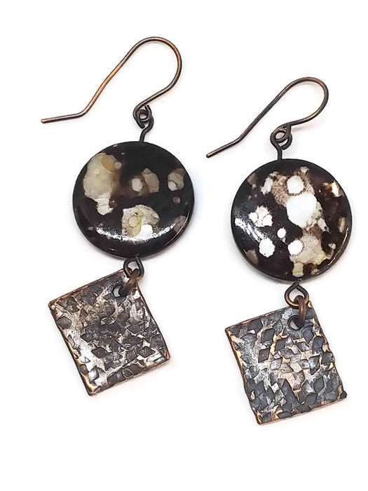 Antiqued Copper Hammered Earrings - Brown Oyster Shell