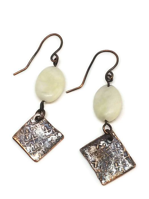 Antiqued Copper Hammered Earrings - New Jade