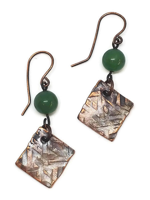 Antiqued Copper Hammered Earrings - Green Aventurine