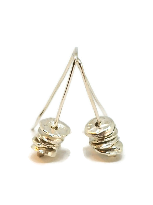 Sterling Silver Water Cast Cairn Earrings