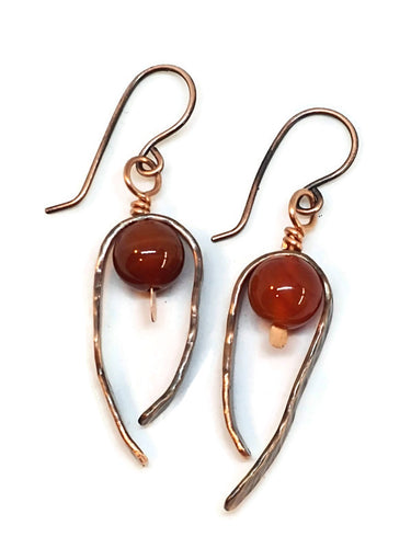Antiqued Copper Hammered Dangle Earrings - Lake Superior Agate