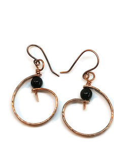 "Antiqued Copper ""6"" Paddle Earrings - Black Onyx"