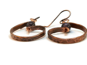 "Antiqued Copper ""6"" Paddle Earrings - Amethyst"