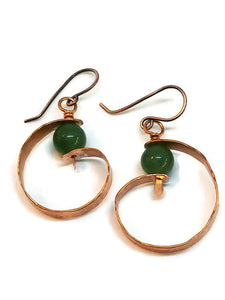 "Antiqued Copper ""6"" Paddle Earrings - Green Aventurine"
