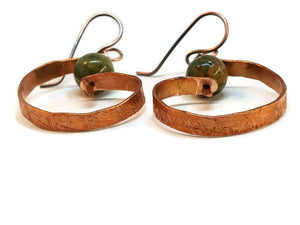 "Antiqued Copper ""6"" Paddle Earrings - Unakite"
