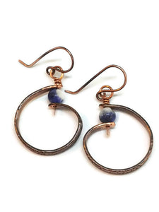 "Antiqued Copper ""6"" Paddle Earrings - Sodalite"