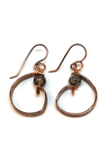 "Antiqued Copper ""6"" Paddle Earrings - Rutilated Quartz"