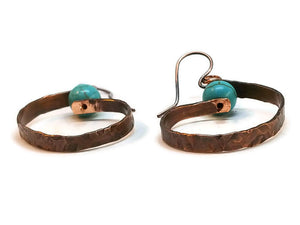 "Antiqued Copper ""6"" Paddle Earrings - Turquoise Howlite"