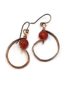 "Antiqued Copper ""6"" Paddle Earrings - Lake Superior Agate"