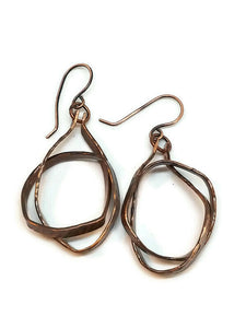 Antiqued Copper Hammered Knotted Earrings