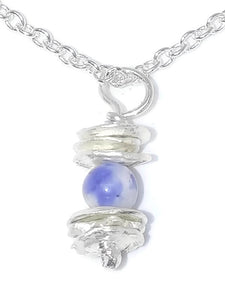 Sterling Silver Water Cast Cairn Necklace - Gemstone - Sodalite
