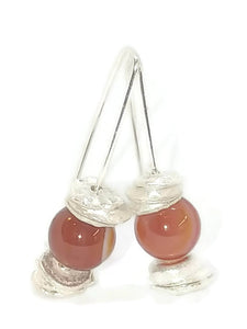 Sterling Silver Water Cast Cairn Earrings - Gemstone - Lake Superior Agate