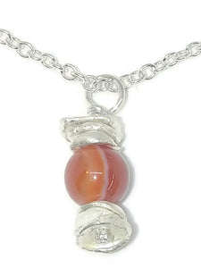 Sterling Silver Water Cast Cairn Necklace - Gemstone - Lake Superior Agate
