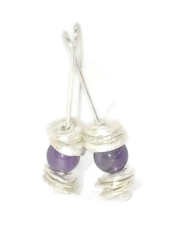 Sterling Silver Water Cast Cairn Earrings - Gemstone - Amethyst