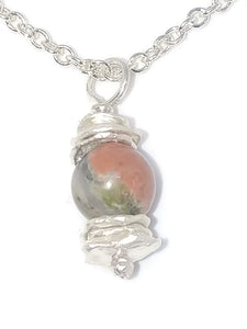 Sterling Silver Water Cast Cairn Necklace - Gemstone - Unakite