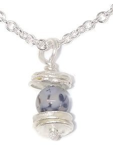 Sterling Silver Water Cast Cairn Necklace - Gemstone - Rutilated Quartz