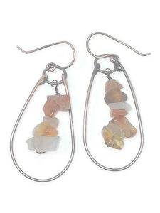Antiqued Copper Lake Superior Agate Chip Teardrop Earrings