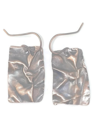 Antiqued Copper Fold Form Earrings - Small Rectangle