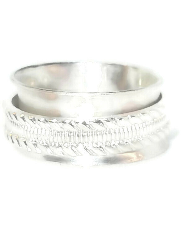 Sterling Silver Spinner Ring - Braided Rope