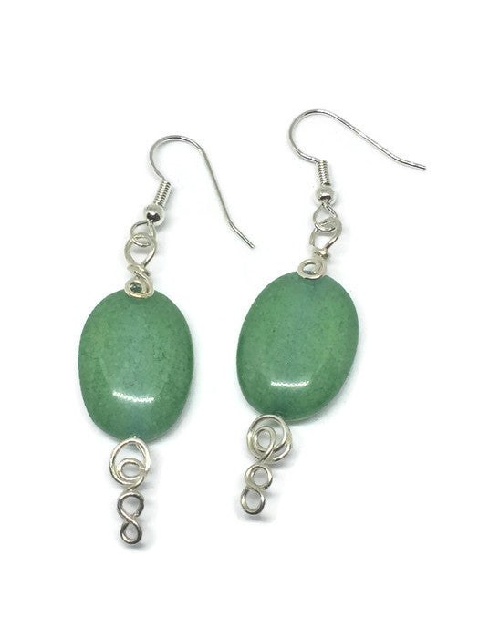 Sterling Silver Green Aventurine Infinity Swirl Earrings