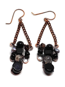 Black Onyx Mosaic Earrings