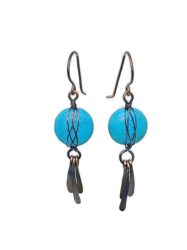 Antiqued Copper Celtic Paddle Earrings - Turquoise Howlite