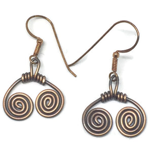 Antiqued Copper Double Swirl Earrings