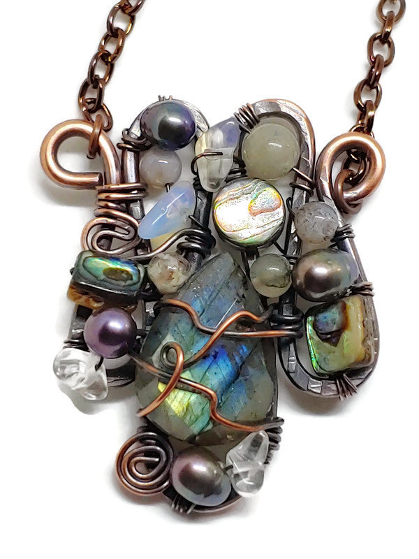 Faceted Labradorite Mosaic Necklace - Small