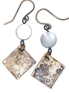 Antiqued Copper Hammered Earrings - Gray White Oyster Shell