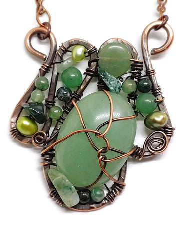 Green Aventurine Mosaic Necklace - Medium